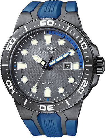 BAND ONLY: Citizen Watch Band Blue/Black Rubber 59-S52503