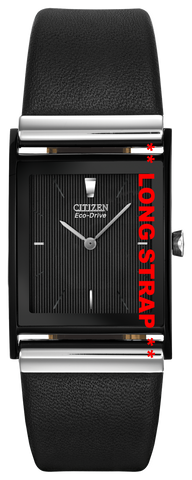 * * LONG * *  BAND ONLY: Citizen Watch Band Black Leather Smooth 23MM LONG Part # 59-S50238L