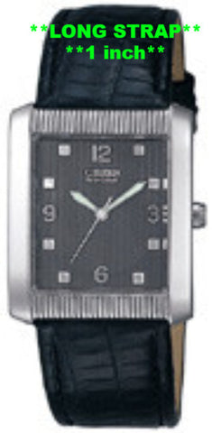 LONG BAND ONLY: Citizen Watch Band Black Leather 20MM Black Part # 59-E0781LS. Long Strap for 59-E0871, 59-E0207, 59-E0663
