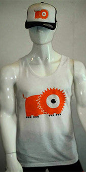 Vest / Tank Top (beige with orange lion print) MENS CUT