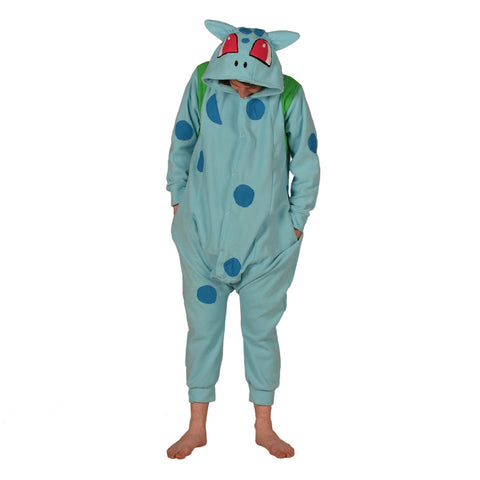 Blue Dinosaur Poke em on Onesie (blue/green) inspired by Bulbasaur