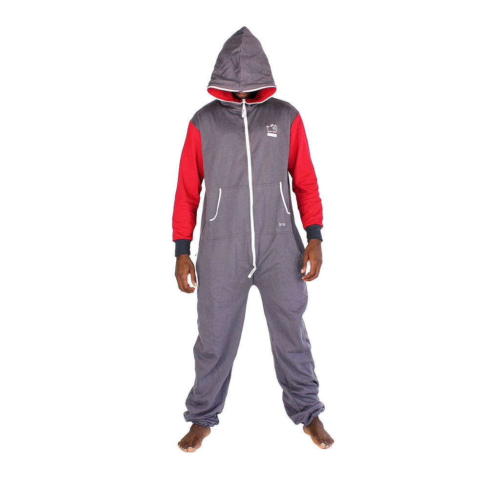 Charcoal & Red Inye Onesie