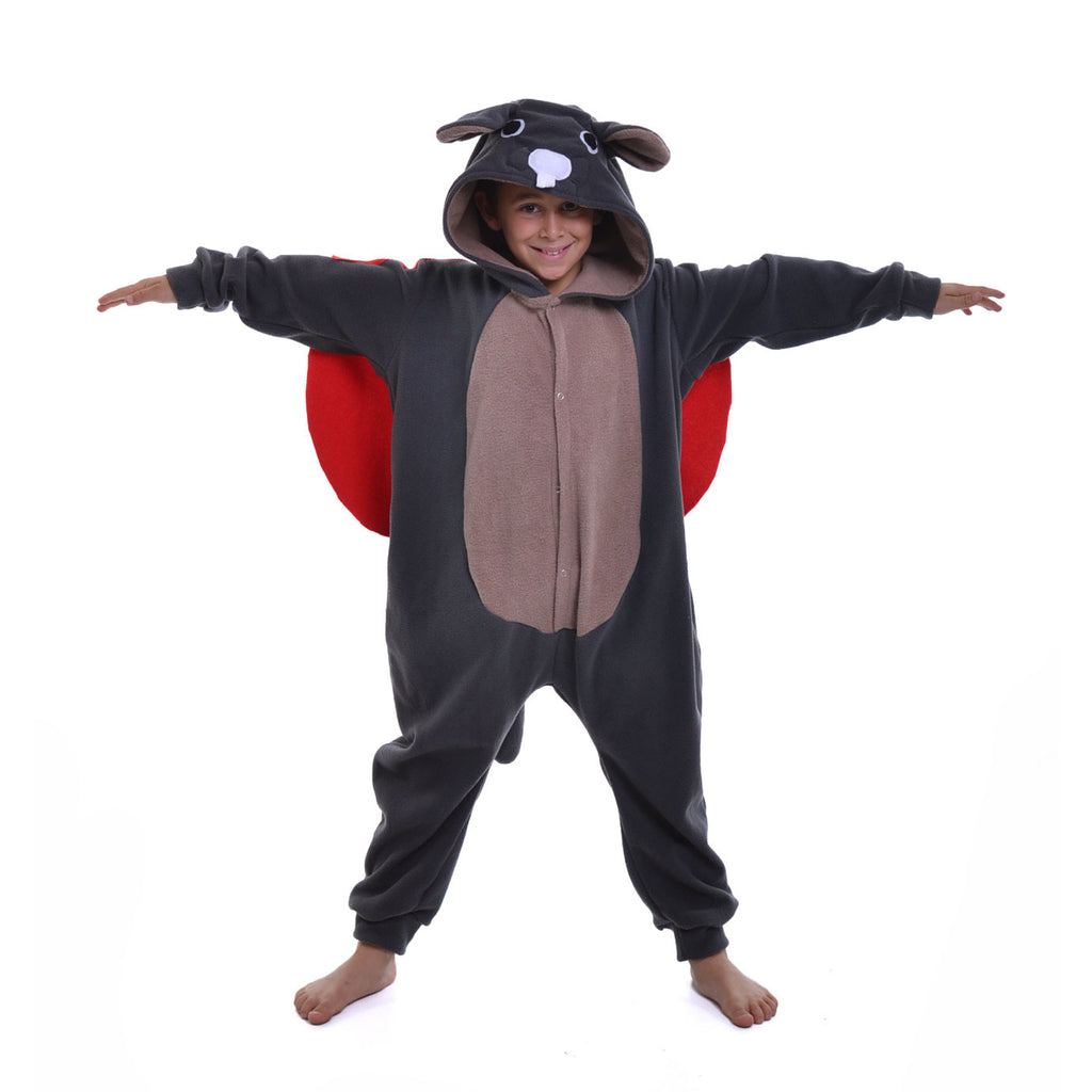 Flying Squirrel Onesie (charcoal/beige/red): KIDS