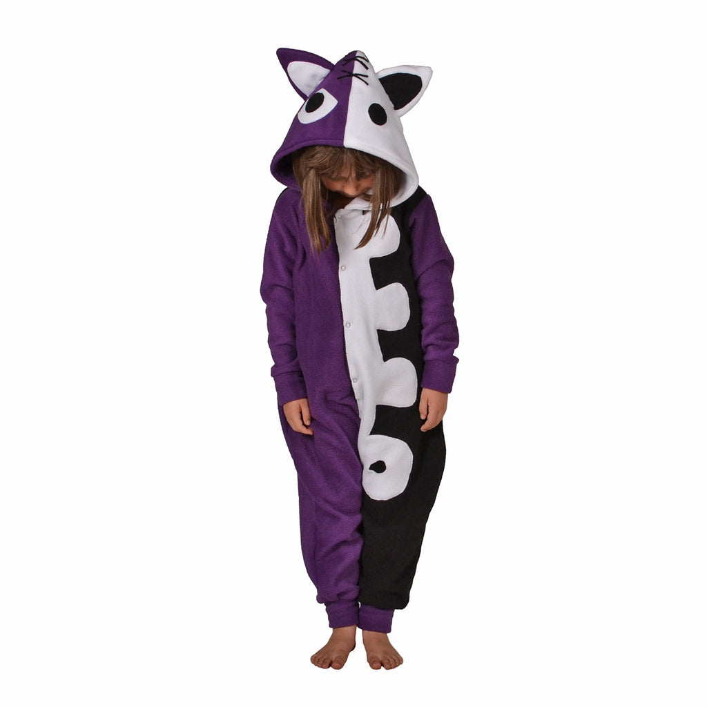 Scary Cat Onesie (purple/black/white): KIDS inspired by Honekoneko
