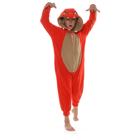 Fire Dragon Poke em on Onesie (orange/beige): KIDS inspired by Charmander