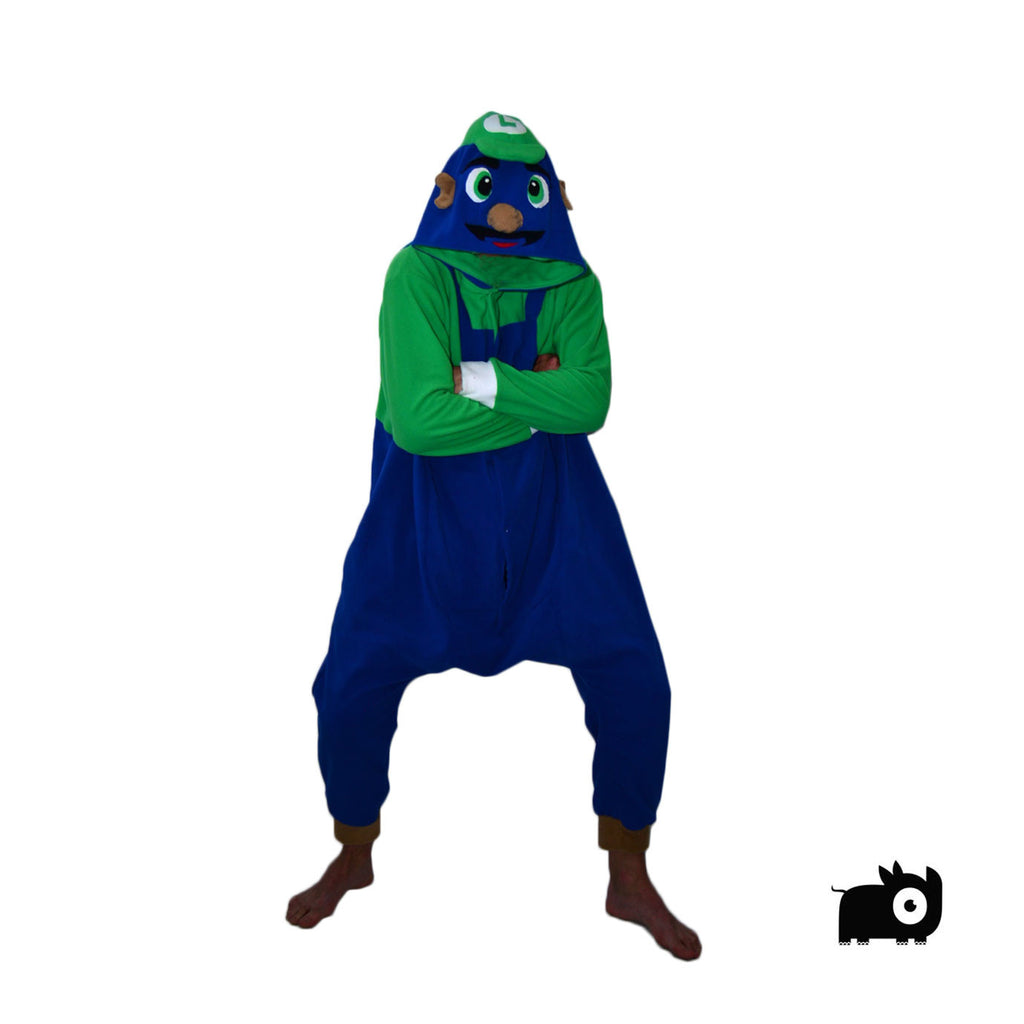 Green Handyman Onesie (blue/green) inspired by Luigi of the Mario Bros
