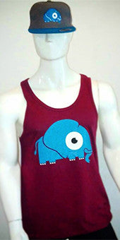 Vest / Tank Top (maroon with blue elephant print) LADIES CUT