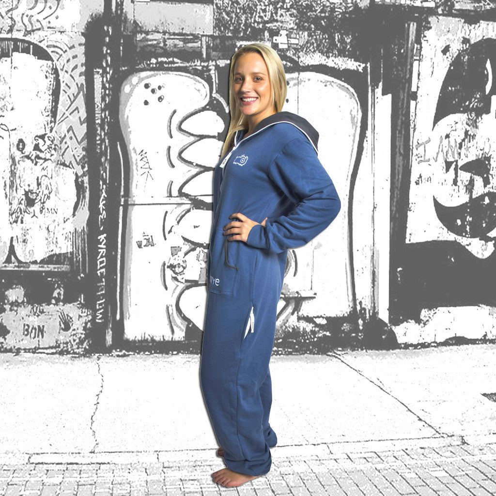 Airforce Blue & Charcoal Inye Onesie