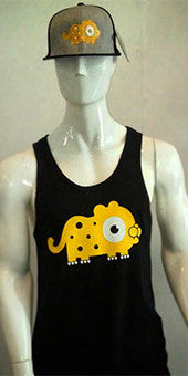 Vest / Tank Top (black with yellow leopard print) LADIES CUT