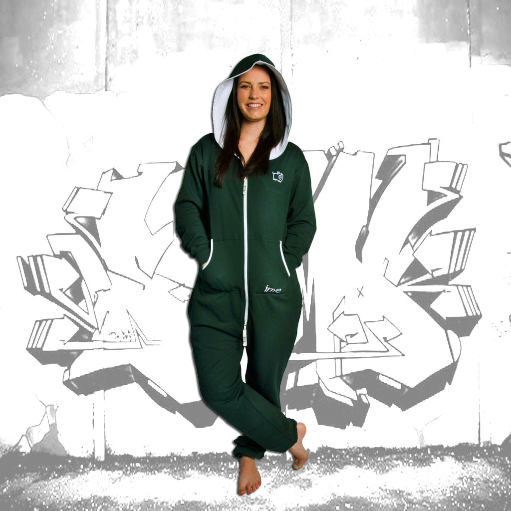 Bottle Green & White Inye Onesie