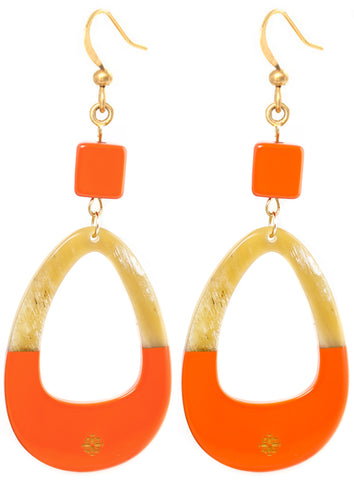 Ivylish Phoenix C Orange Lacquer Earrings