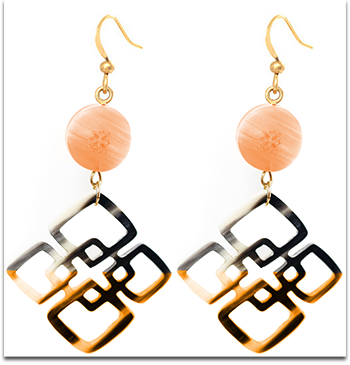 Ivylish Lotus C/D Rectangular Orange/Mint Lacquer Symmetry Dangle Earrings