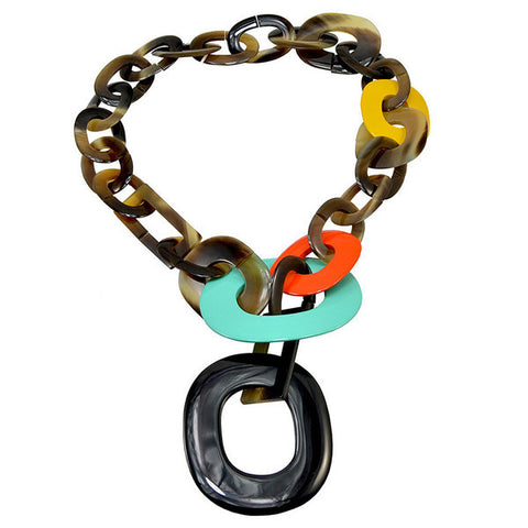 Ivylish Phoenix I Orange Mint Yellow Lacquer Knot Necklace