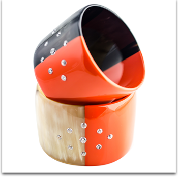 Ivylish Lily E Orange Lacquer with Cubic Zirconia Diamond Bangle