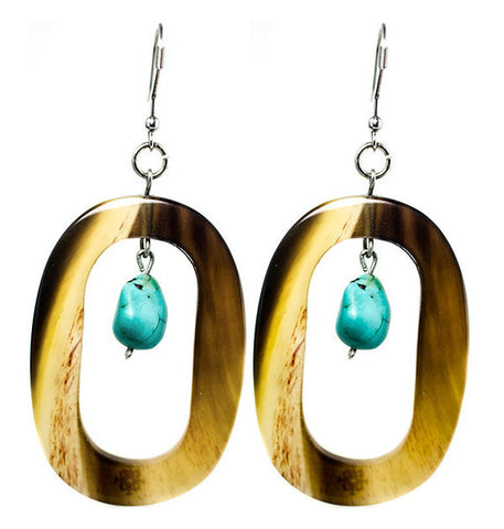 Horn Oval Turquoise Stone Earrings Stainless Inox Hook