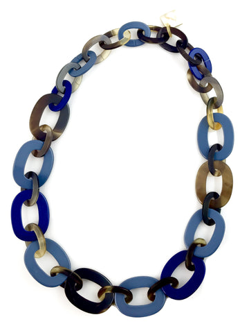 Blue Lacquer Chain Horn Link Necklace