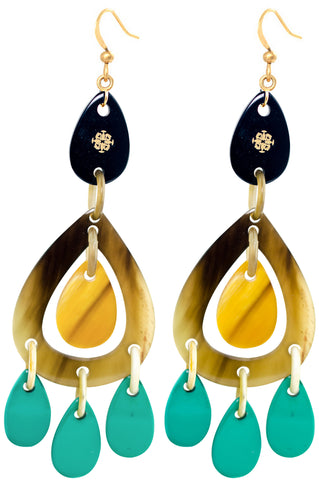 Ivylish Phoenix C Orange/Mint Lacquer Dangle Drop Earrings