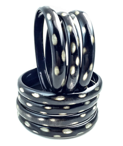 Stackable Set 7 Natural Dots Horn Bangles