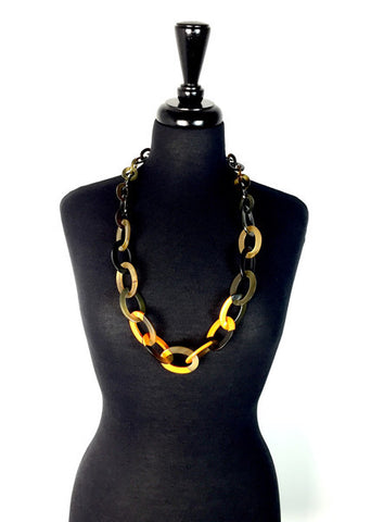 Ivylish Elegant Lily D Lacquer Link Chain Orange Necklace