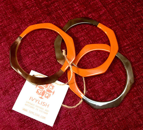 Stackable Set 3 Natural Horn Thin Orange Lacquer Bangles