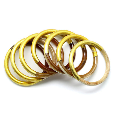 Stackable Set 7 Natural Horn & Half Gold Lacquer Bangles