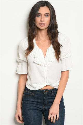 White Tie Back Ruffle Top
