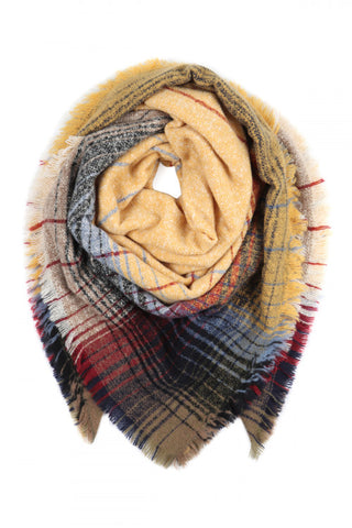 Mustard Plaid Fringed Scarf