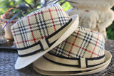 Tan Plaid Fedora