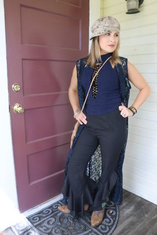Black Ruby Ruffle Pants
