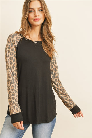 Lexi Leopard Baseball Top
