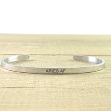 "Load image into Gallery viewer, ""Aries AF"" Metallic Mantra Cuff"