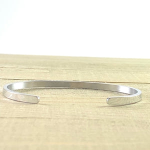 """Stronger Than Yesterday"" Silver Mantra Cuff Bracelet"