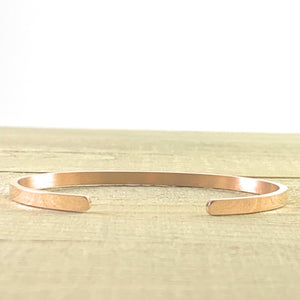 """Hustle + Heart"" Rose Gold Mantra Cuff Bracelet"
