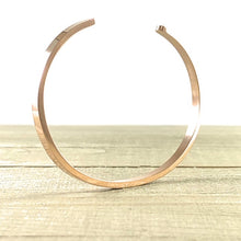 "Load image into Gallery viewer, ""Hustle + Heart"" Rose Gold Mantra Cuff Bracelet"