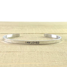 "Load image into Gallery viewer, ""I Am Loved"" Silver Mantra Cuff Bracelet"