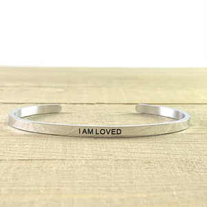 """I Am Loved"" Silver Mantra Cuff Bracelet"