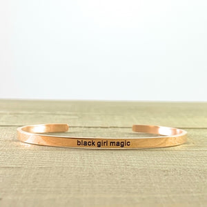 """Black Girl Magic"" Rose Gold Mantra Cuff Bracelet"