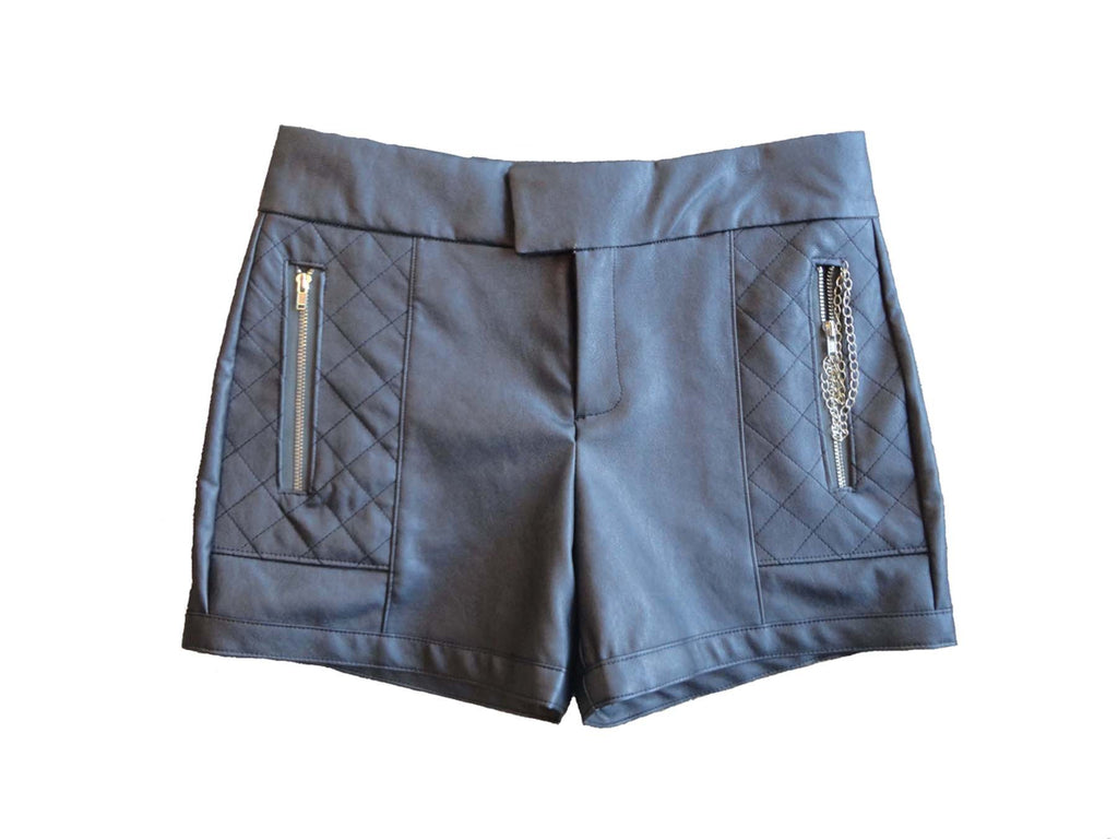 Soft faux leather shorts