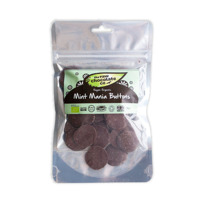 Mint Mania Dark Chocolate Buttons 100g & 1kg - The Raw Chocolate Company
