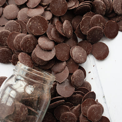 Pitch Dark Chocolate Buttons 1kg - The Raw Chocolate Company