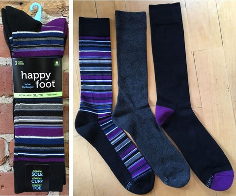 12-16 (3 PAIRES) HAPPY FOOT MHE121 -                Multi/Gris/Noir