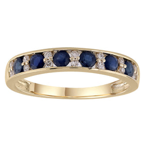 9ct Yellow Gold Sapphire and Diamond Ring TDW 0.10ct