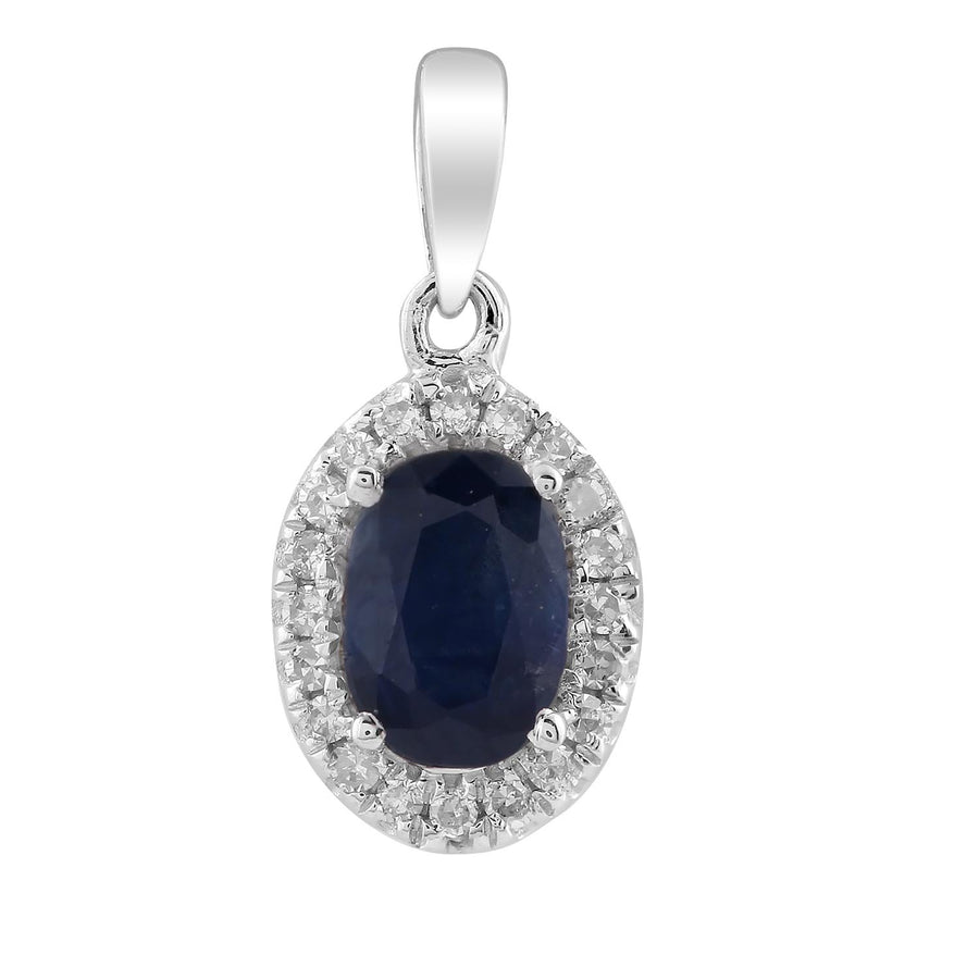 9ct White Gold Sapphire and Diamond Pendant TDW 0.07ct