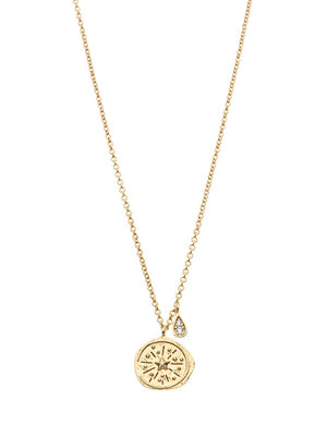 Northern Lights Compass Necklace - Gold Plated Sterling Silver
