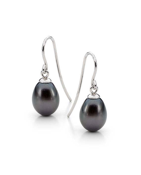8mm Black FWP Sterling Silver Drop Earrings