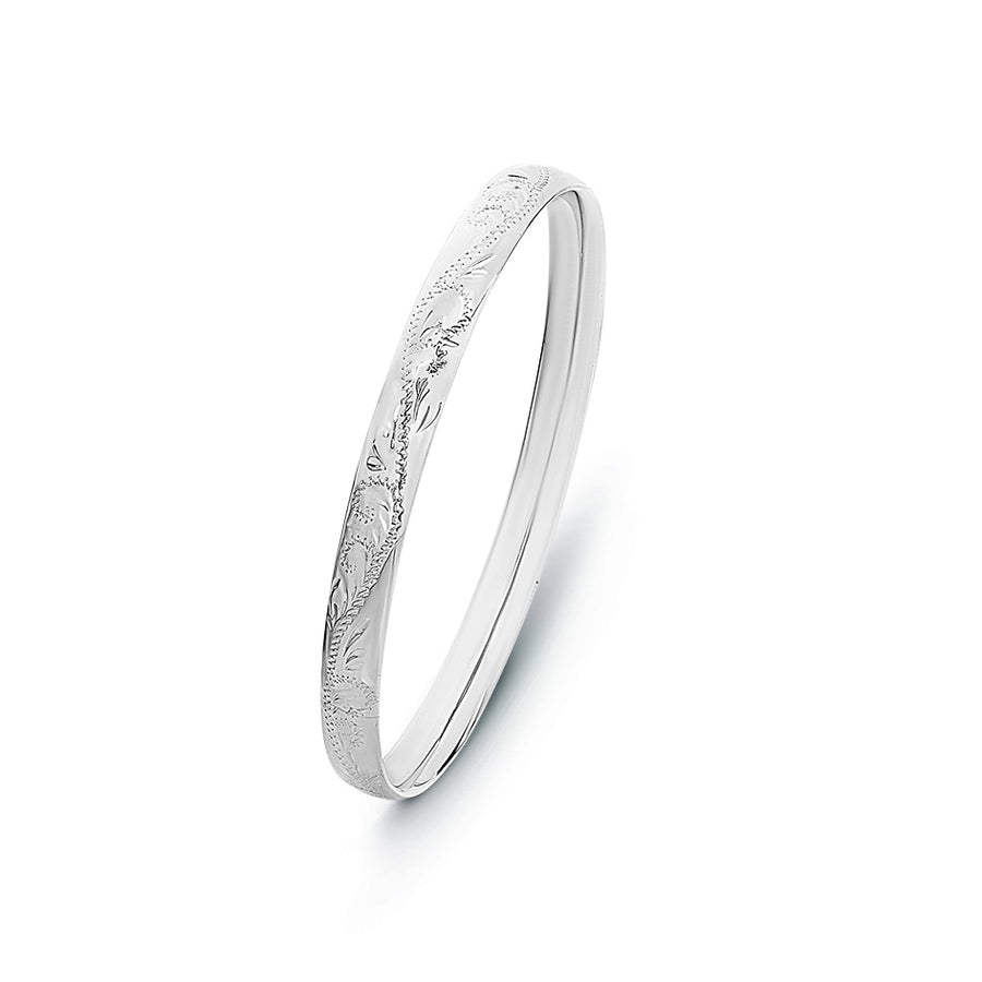 Sterling Silver 7mm Engraved Comfort Fit Bangle 64mm