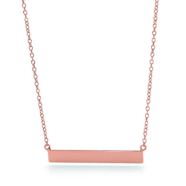 Sterling Silver Rose Gold Plated 45cm Bar Necklace