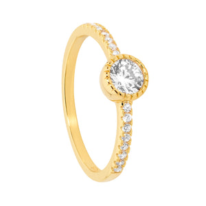 Sterling Silver Gold Plated 5mm White CZ Crown Set Solitaire with CZ band Size O