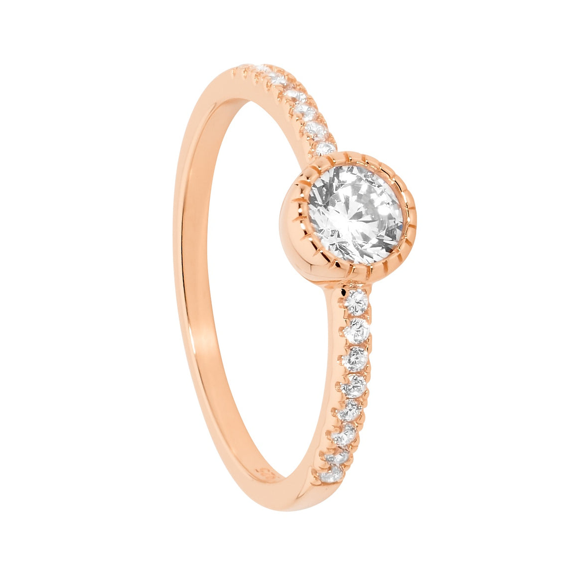 Sterling SilverRose Gold Plated 5mm White CZ Crown Set Solitaire with CZ band Size Q