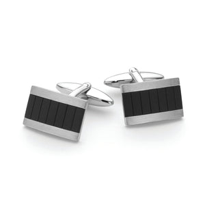 Stainless Steel /Ip Black Cuff Links